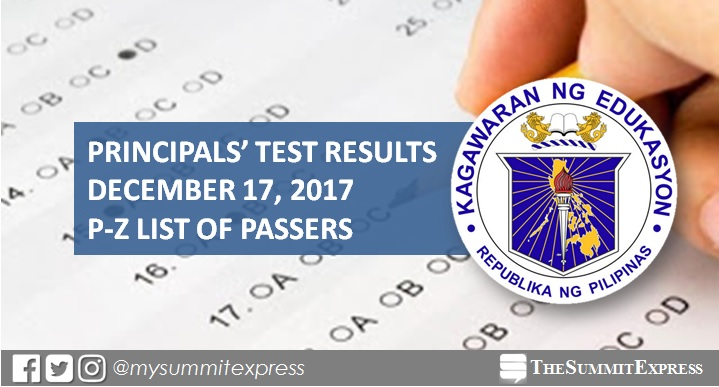 P-Z Passers: December 17, 2017 Principals' Test Results NQESH