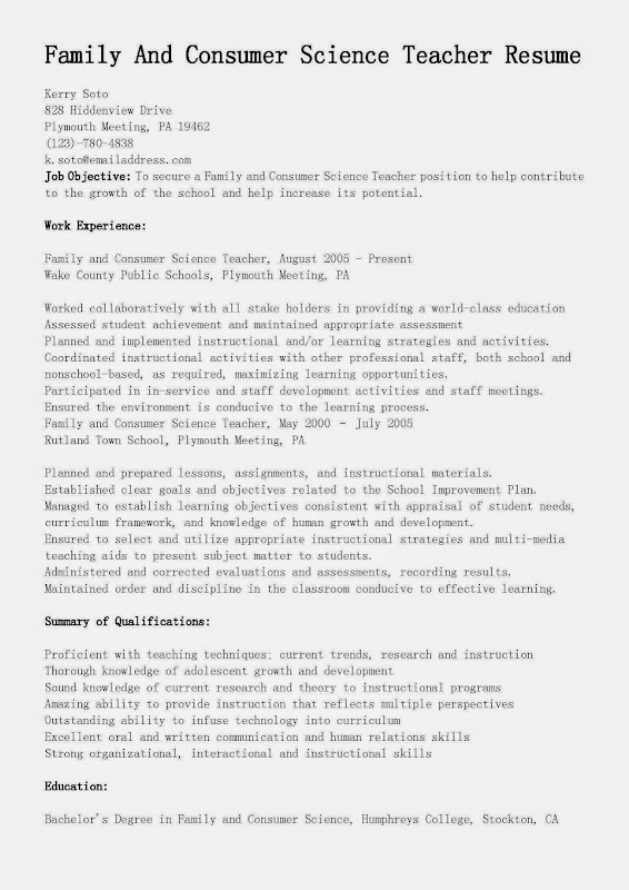 This FREE Sample Family And Consumer Science Teacher Resume will - science teacher resume