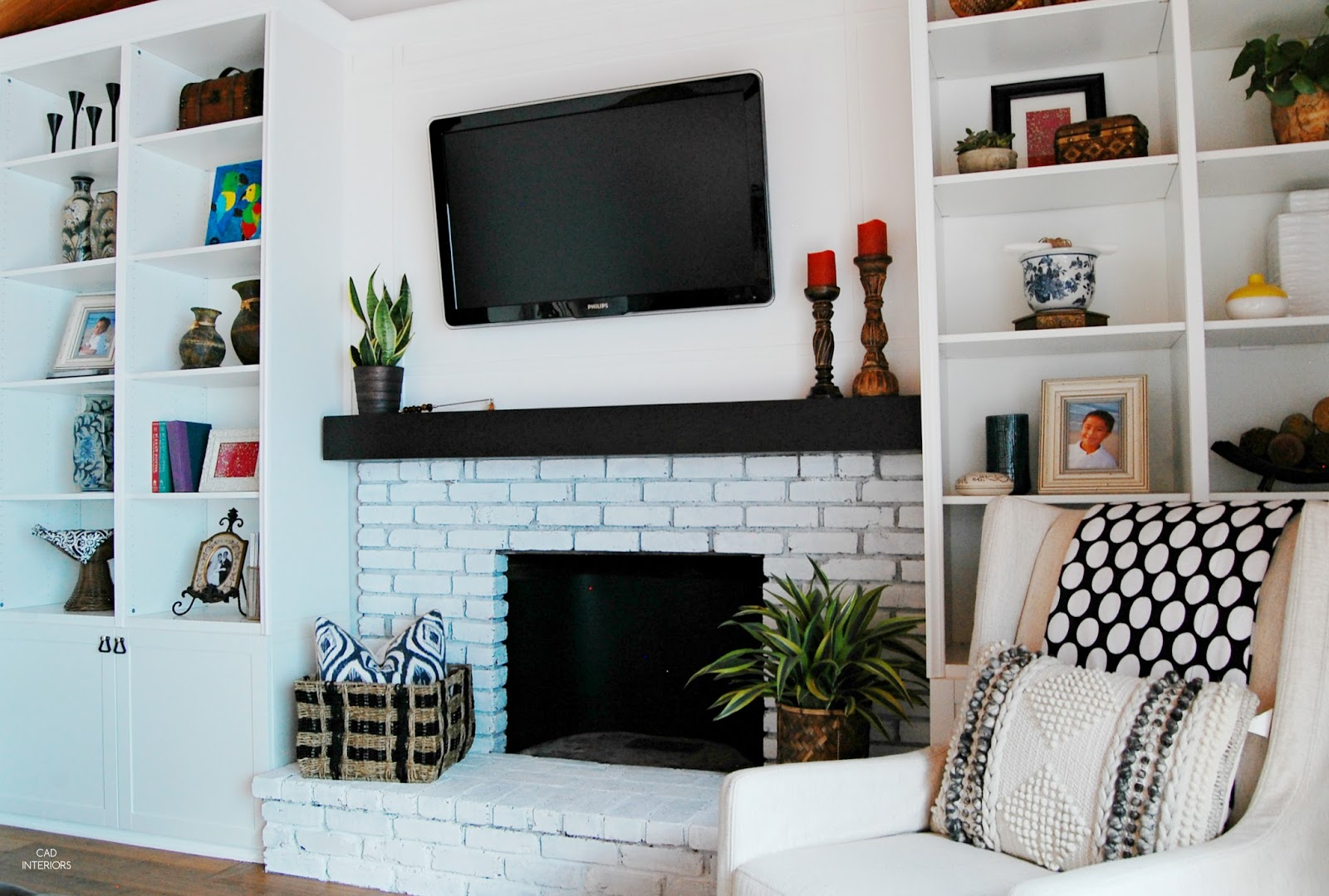 one room challenge modern bohemian vintage eclectic transitional interior design decorating brick whitewash fireplace diy built-ins orc