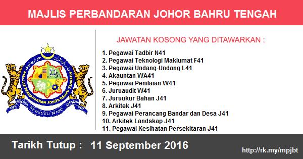 Jawatan Kosong di Majlis Perbandaran Johor Bahru Tengah (MPJBT)