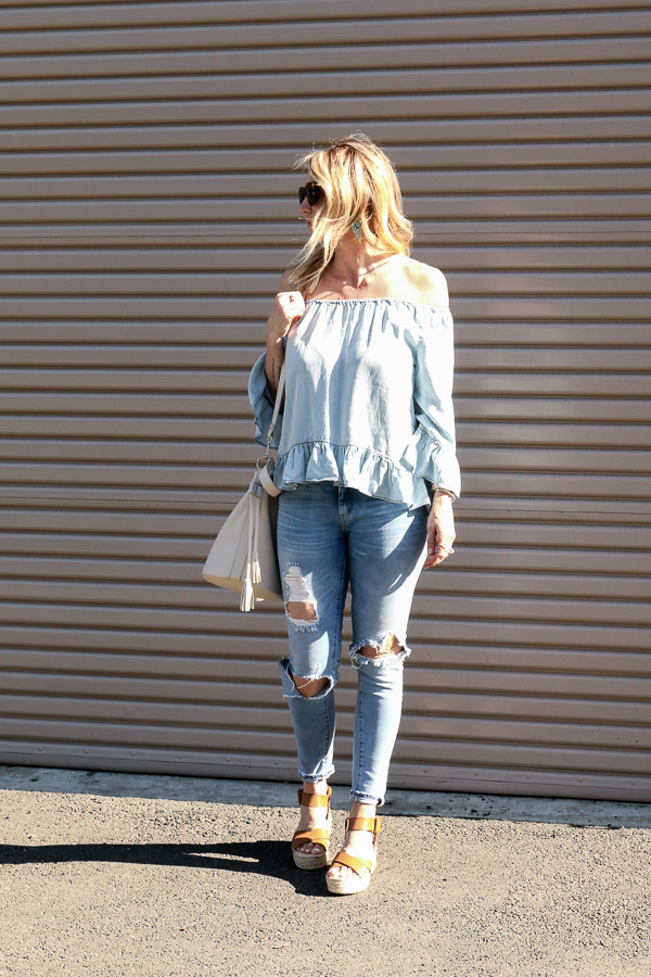 denim ruffle top ripped denim jeans