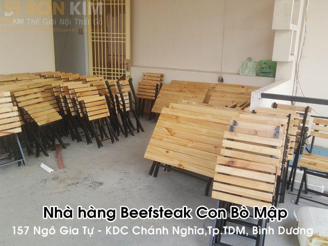 Công trình bàn ghế | mái hiên nhà hàng beefsteak Con Bò Mập