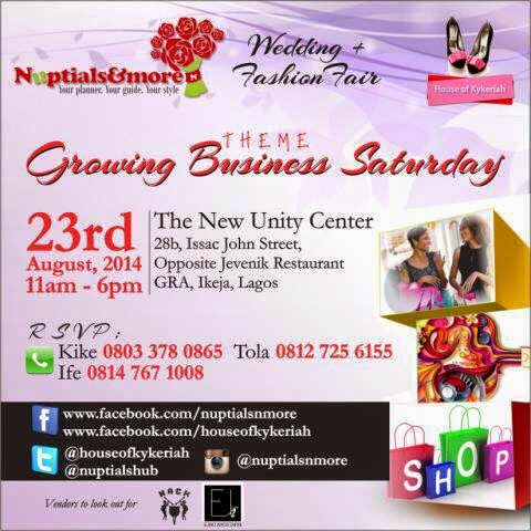 """Attend the Wedding & Fashion Fair themed """"Growing Business Saturday"""" on 23rd August, 2014"""