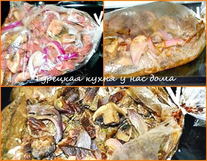 Мясо с луком и грибами в рукаве
