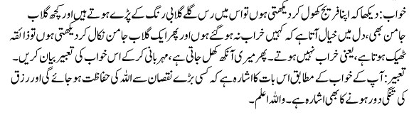 khwab mein mithai khana in urdu