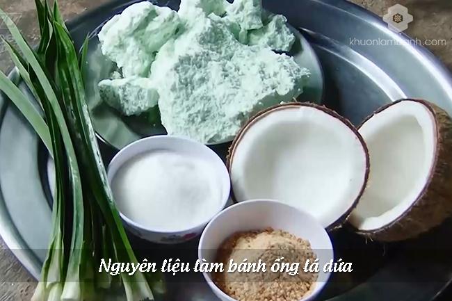 Nguyen lieu lam banh ong la dua