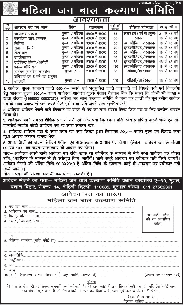 Mahila Jan bal kalyan samiti job notification 2016 posts 806