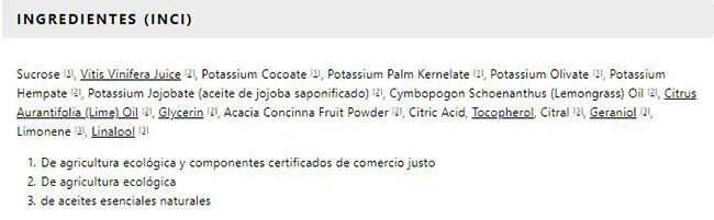 Jabón líquido orgánico de azúcar de lima de Dr. Bronner's - Ingredientes