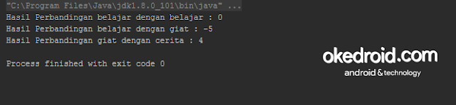 Output Hasil Contoh Program Method Fungsi compareTo() String Java