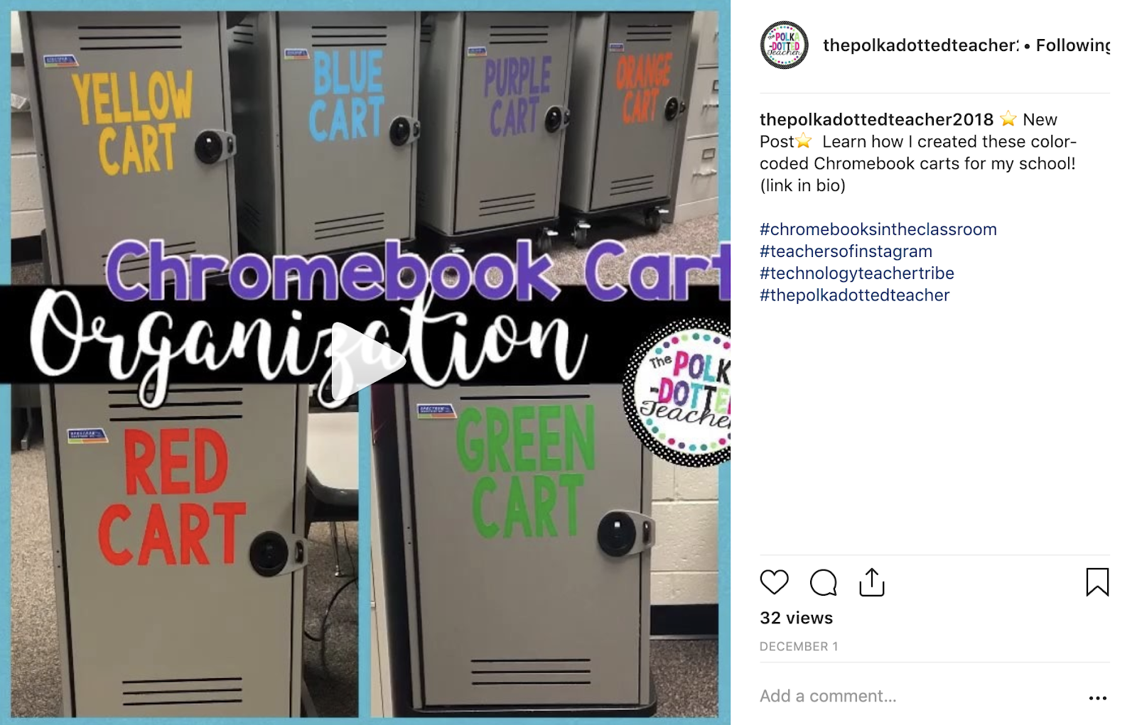 Technology Organization Idea: Color code Chromebook/laptop carts using vinyl