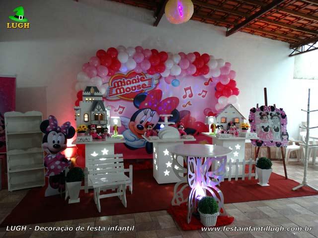 Decoração de mesa Minnie com vestido rosa para festa de aniversário infantil feminina