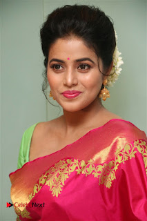 Poorna Stunning in Mesmerizing Kanchivaram saree Green Wide front Blouse at Savarakkathi Tamil Movie
