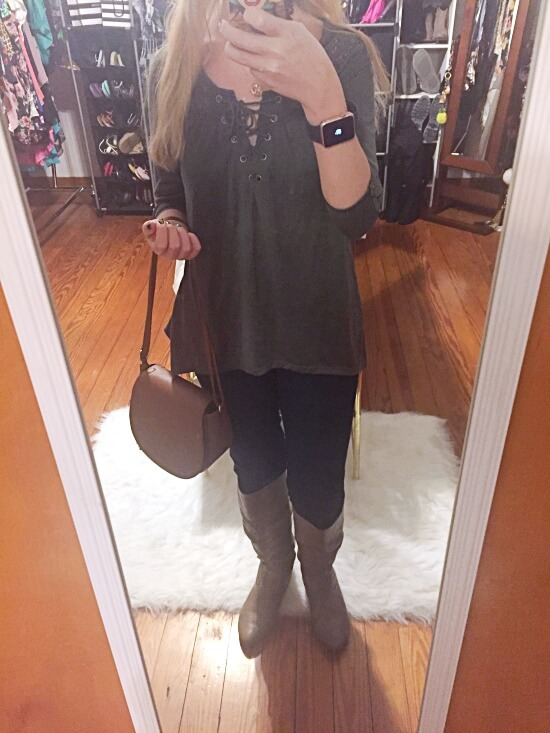 olive sharkbite top outfit of the day