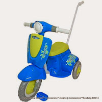 Sepeda Roda Tiga Royal RY309 Skuter dengan Tongkat Dorong