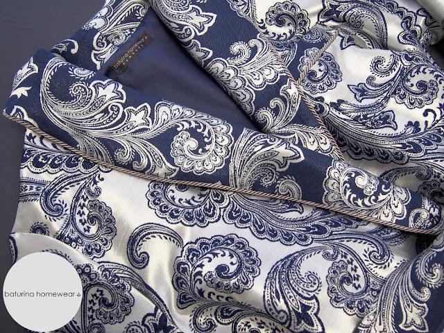 men navy blue grey silver light dressing gown silk dress robe housecoat paisley brocade cotton jacquard luxury bespoke english classic tassel sash tie