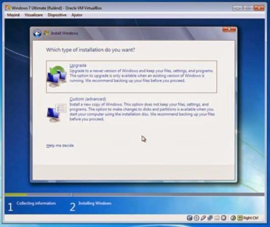 instalare windows 7 - alegerea modului custom