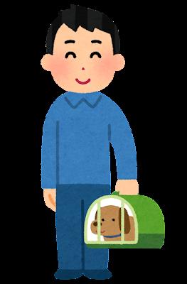 キャリーケージで犬を運ぶ人のイラスト