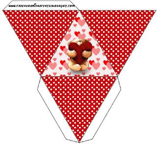 Teddy Bear in Love Free Printable Pyramid Box.