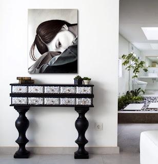muebles para entrada negro plata