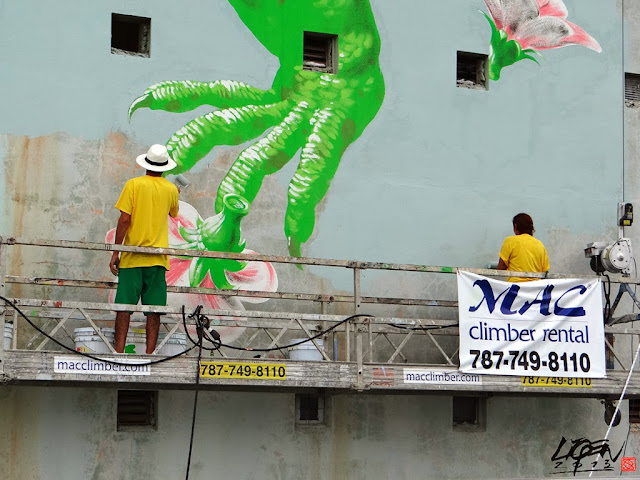 """Iguana Cuatro"" New Street Art Mural By Liqen For Los Muros Hablan 2013 in San Juan, Puerto Rico. 2"