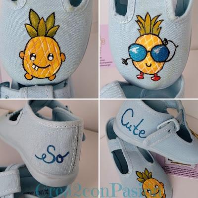 Collage-Zapatillas-azules-infantiles-pintadas-a-mano-con-piñas-estilo-kawaii-crea2-con-pasión