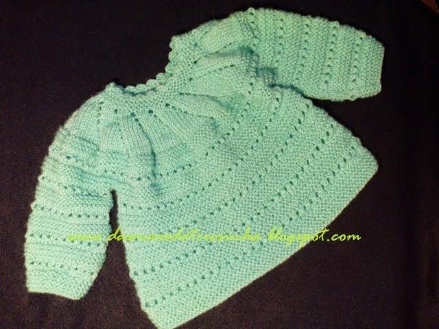 Das Mãos da Teresinha  Casaco de tricô para bebé recém-nascido ( tam ... 06a03809d96
