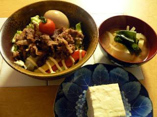 夕食の献立 献立レシピ 飽きない献立 野菜のせ牛丼セット ジャガイモの味噌汁