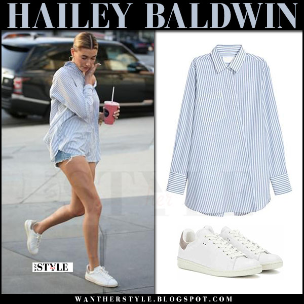Hailey Baldwin in striped blue white shirt and white sneakers what she wore april 2017
