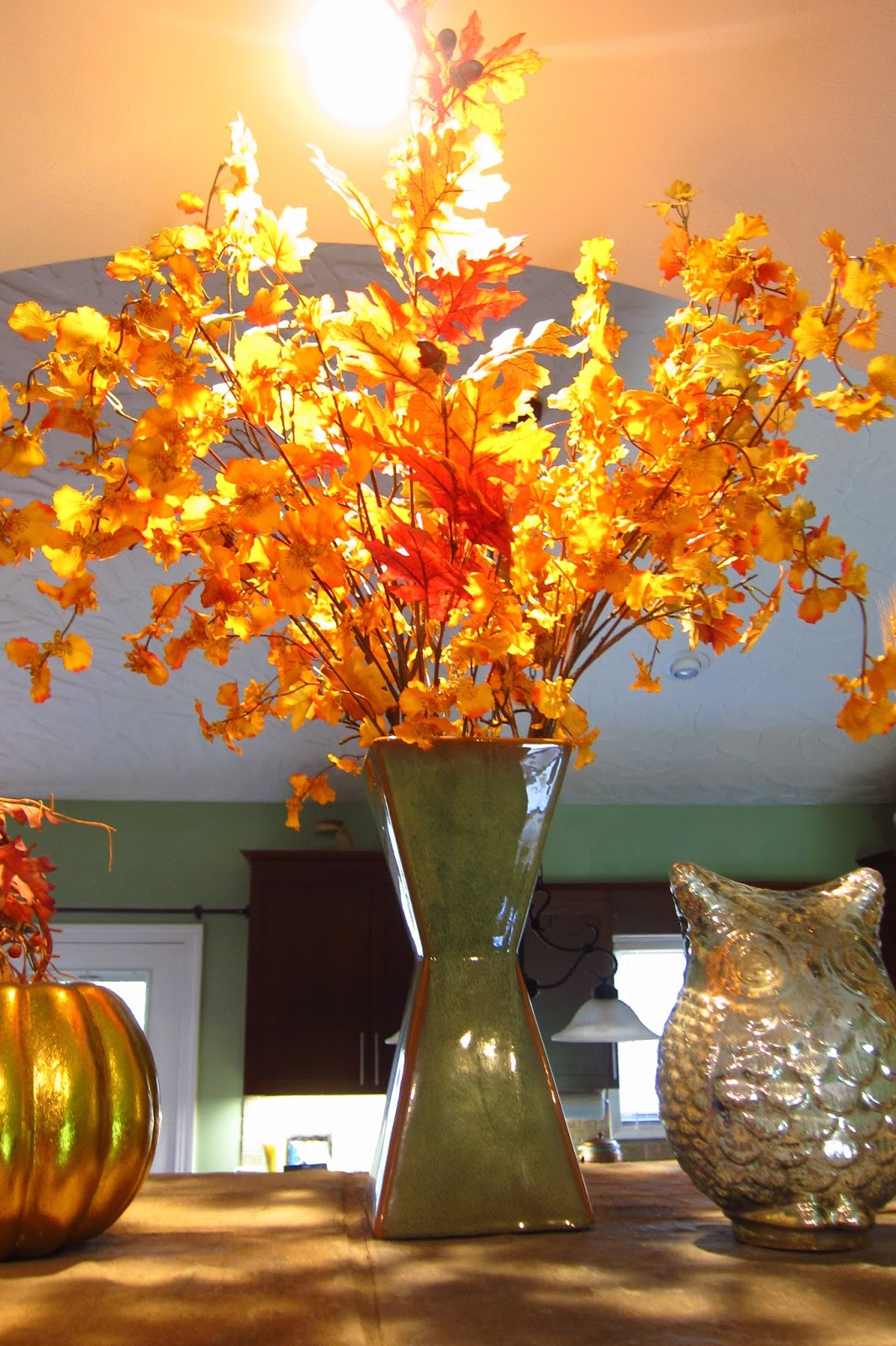 Pepper medley its august but its autumn i use one of the vases in the dinette area of our home with sprays of lemon branches but the other is on the fireplace mantel the brown paint drip vase floridaeventfo Choice Image