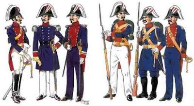 Tres Oficiales y tres de Tropa con los uniformes fundacionales