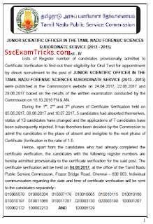 TNPSC Junior Scientific Officer (CV) Result 2017