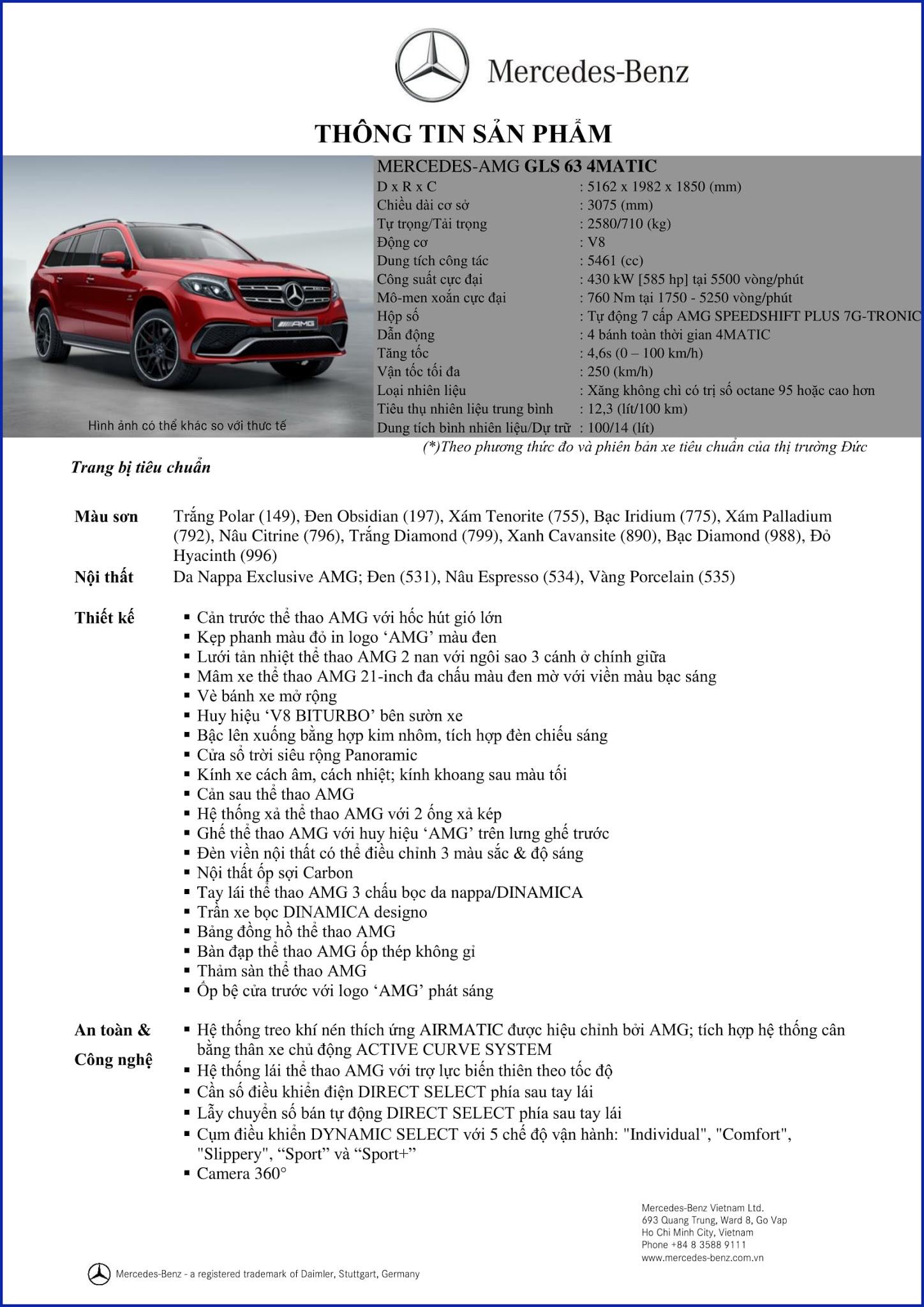 Bảng thông số kỹ thuật Mercedes AMG GLS 63 4MATIC 2019 tại Mercedes Trường Chinh