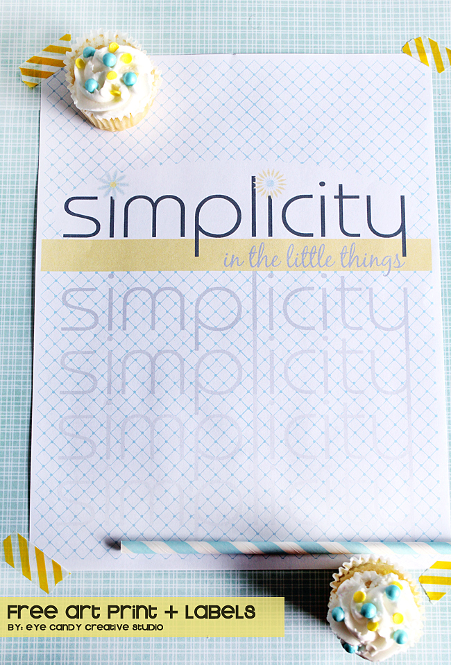 free art primt, simplicity freebie, yellow & blue, word art, washi tape
