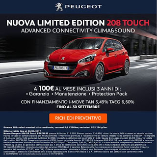 caff letterari nuova limited edition 208 touch prezzo promo peugeot. Black Bedroom Furniture Sets. Home Design Ideas