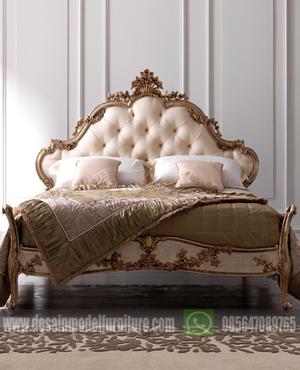 Tempat tidur eropa model racoco mewah