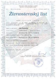 Jan Ondráček, Instalatér Brno, Živnostenský list