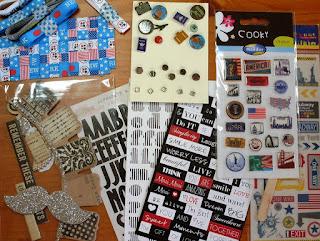 Sticker, Brads und Bänder für das Bastelset