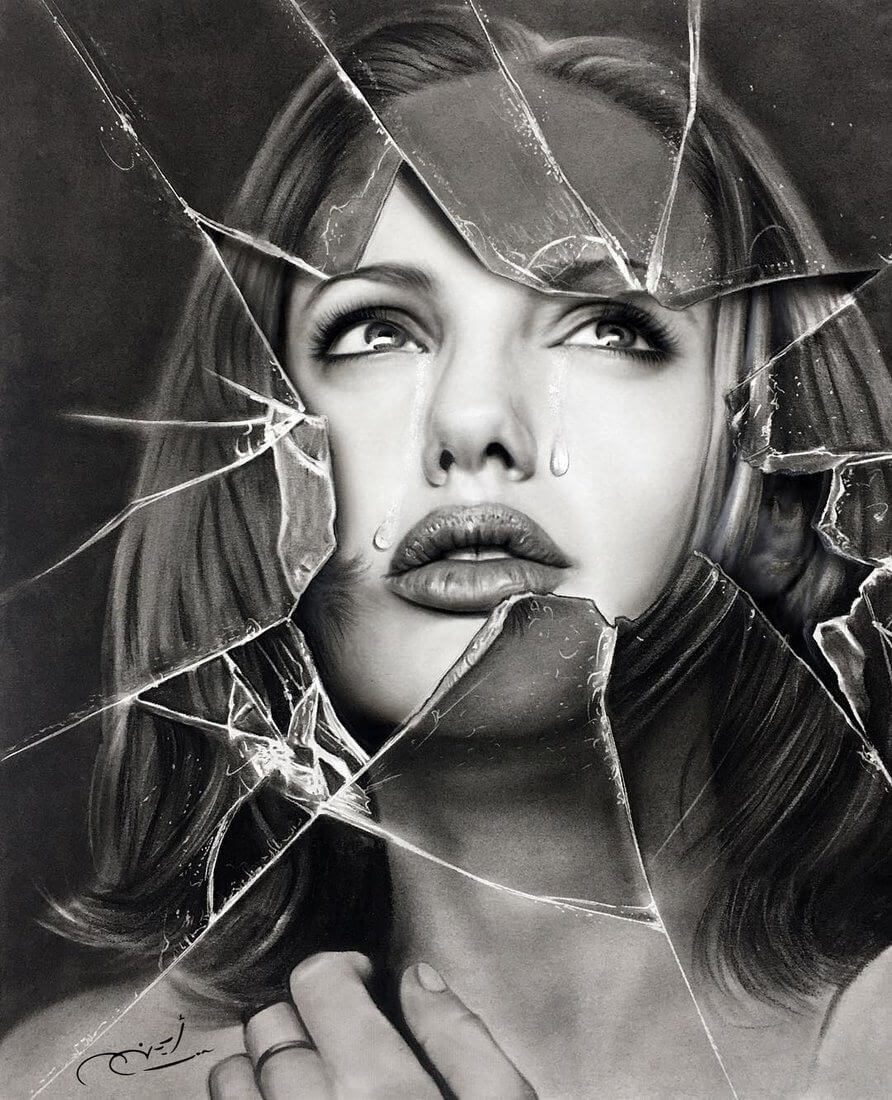 04-Angelina-Jolie-Aymanarts-Realistic-3D-Illusion-Portrait-Drawings-www-designstack-co