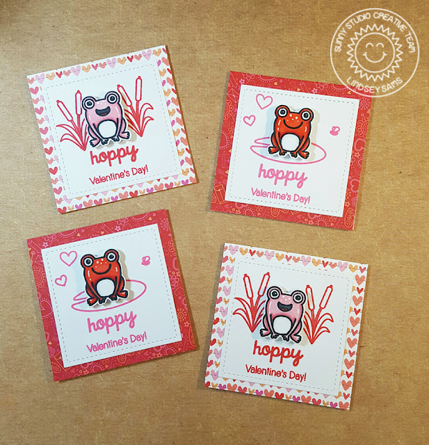 Sunny Studio Stamps: Froggy Friends Frog Themed Valentine's Day Card for Kids by Lindsey Sams