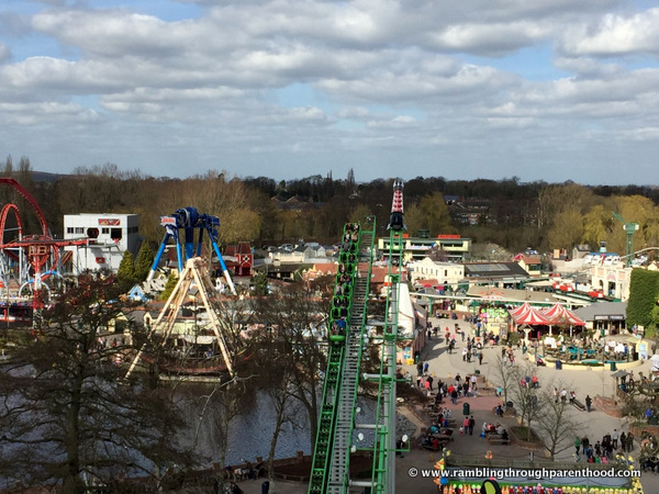 Looking out onto Drayton Manor from the Big Wheel