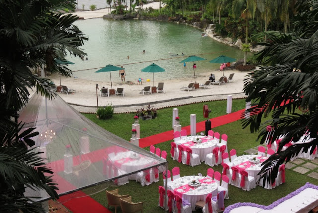 man made beach wedding