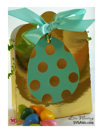 This is a picture of turquoise and gold treat bags with gold easter bunnies created by Lisa Mensing