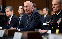 National Intelligence Director Dan Coats and directors of the FBI, CIA and Defense Intelligence Agency testify on the Worldwide Threat Assessment before a Senate committee. (Credit: Saul Loeb/AFP/Getty) Click to Enlarge.