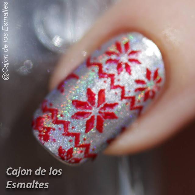 Uñas navideñas - Polvo efecto holográfico