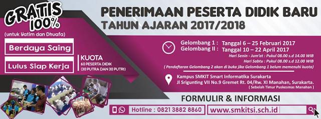 Informasi PPDB SMK Gratis Smart Informatika Solopeduli Tahun 2017/2018