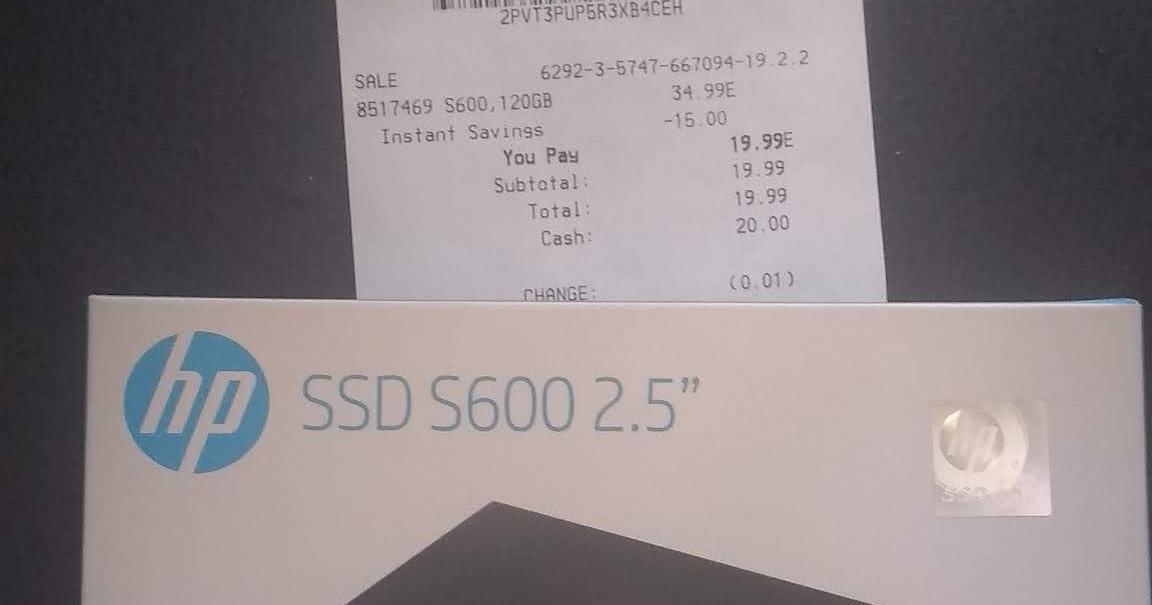 PuppyLinux or PCBSD: 120 GByte HP SSD S600 $20 at Office Max