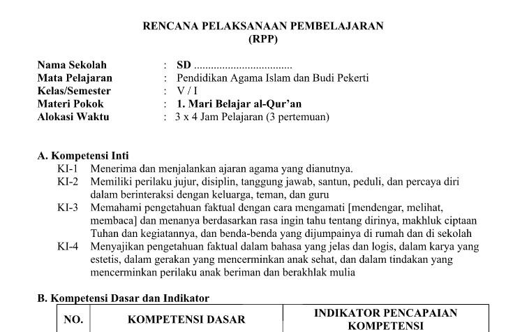 RPP PAI SD Kurikulum 2013 Format PDF Kelas 1 - 6 semester I  - II