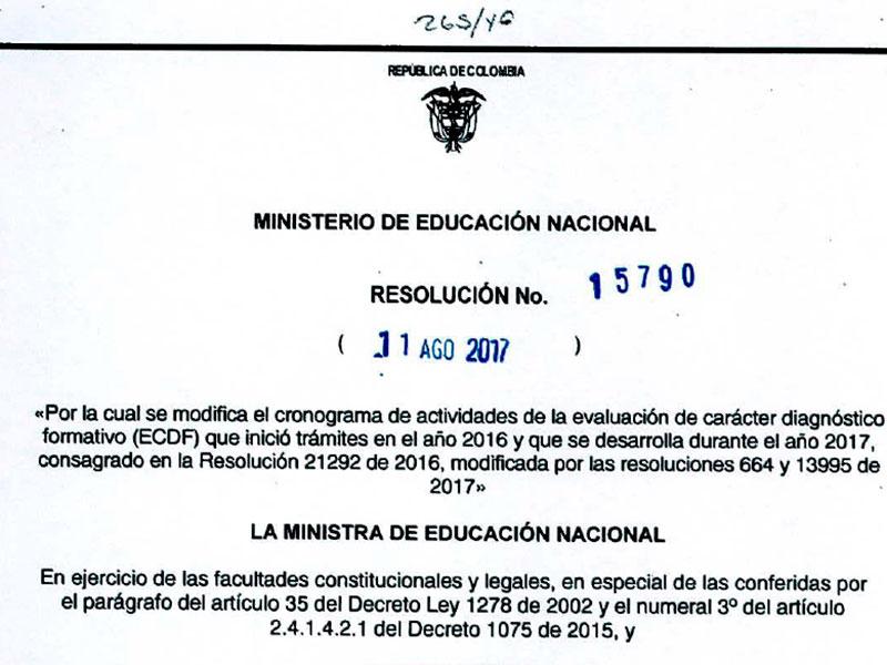 Resolución 15790 por la cual se modifica el cronograma de actividades de la evaluación de carácter diagnóstico formativo (ECDF)