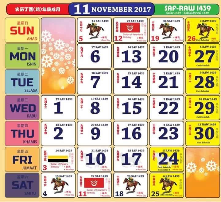 Gambar Kalendar 2017 Berserta Cuti Sekolah dan cuti umum november