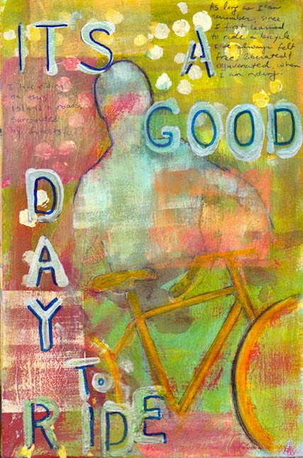 art journal page, bicycle